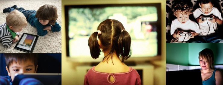CN0609 Girl watches tv screen.