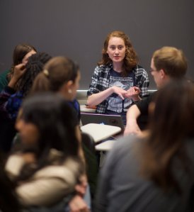 Kathryn DeWitt, a University of Pennsylvania student who has battled depression, shares her experiences at a chapter meeting of Active Minds. Photo Credit: Mark Makela for The New York Times