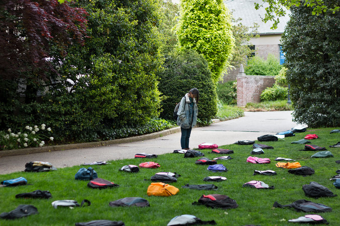 A traveling exhibition by Active Minds, an advocacy group, consists of 1,100 backpacks representing the approximate number of undergraduates who commit suicide each year. Photo Credit: Activeminds.org
